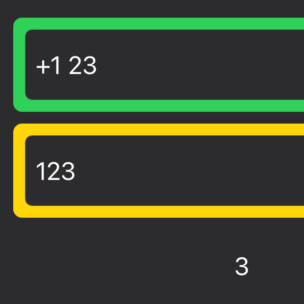 Two text fields with +1 (space) 23 in the first one and 123 in the second