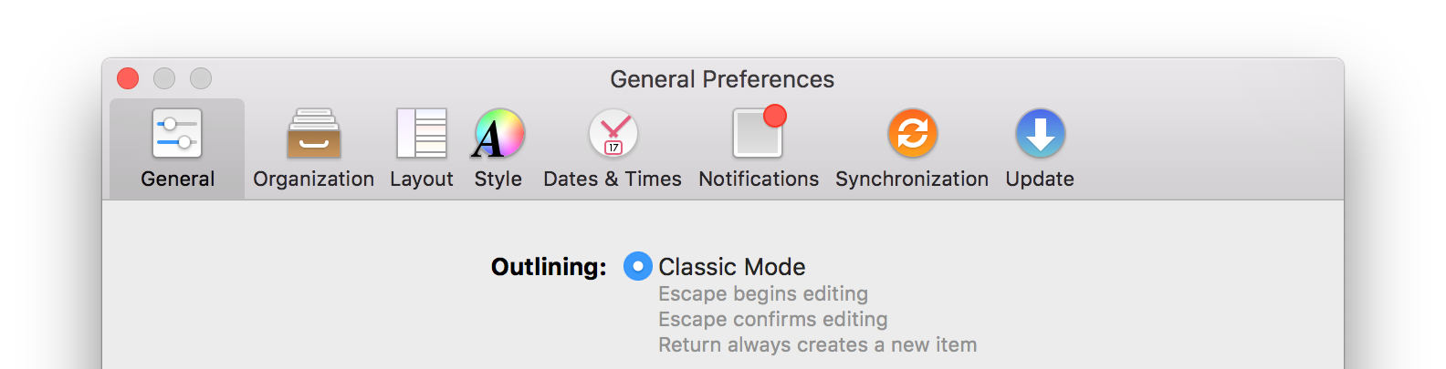 Latest OmniFocus preferences window with colourful and distinct icons.