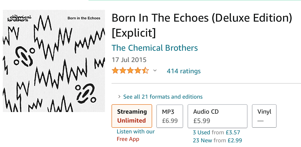 The Chemical Brothers album, MP3 £6.99, Audio CD £5.99, used £3.57