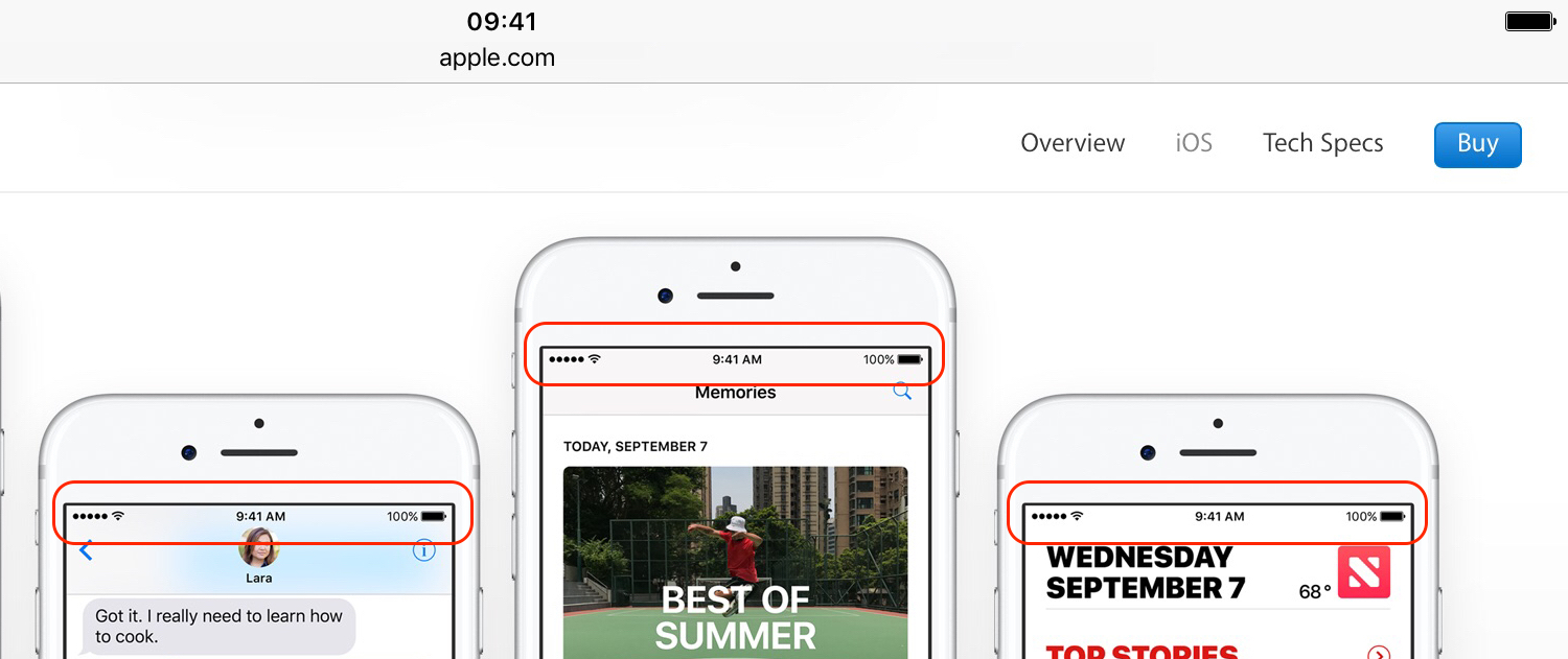 Apple website shows 3 iPhone devices with identical Status Bar.
