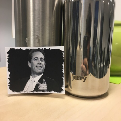 Silver bottle with Jerry Seinfeld photo