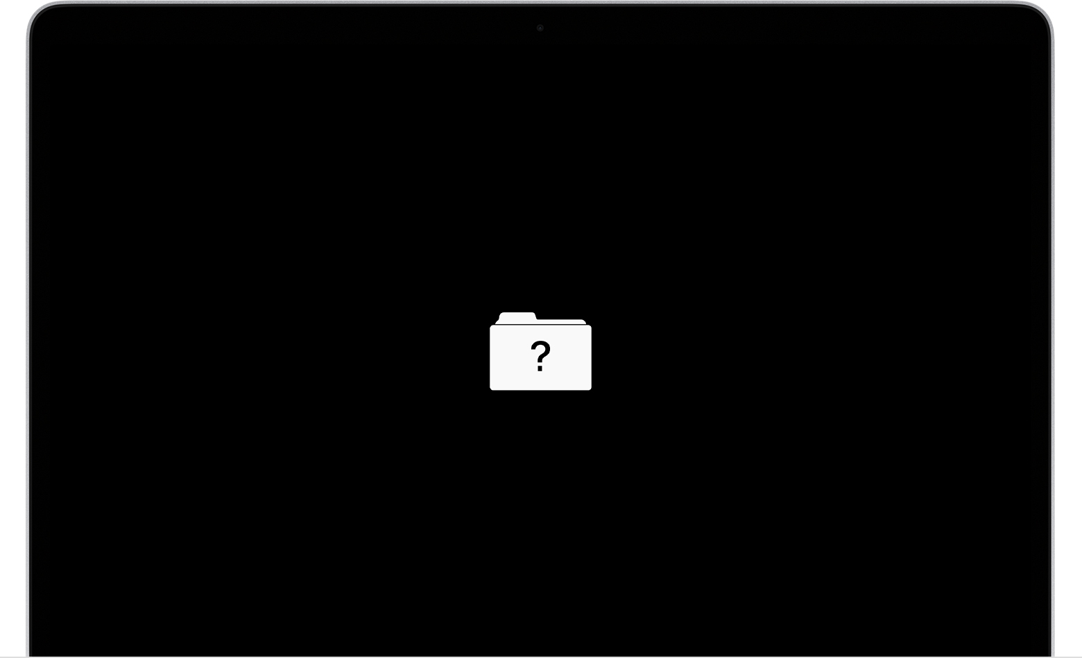 Black screen with question mark folder
