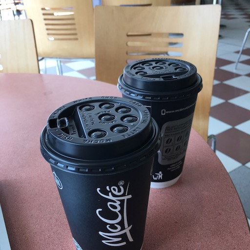 2 McCafé with plastic lids