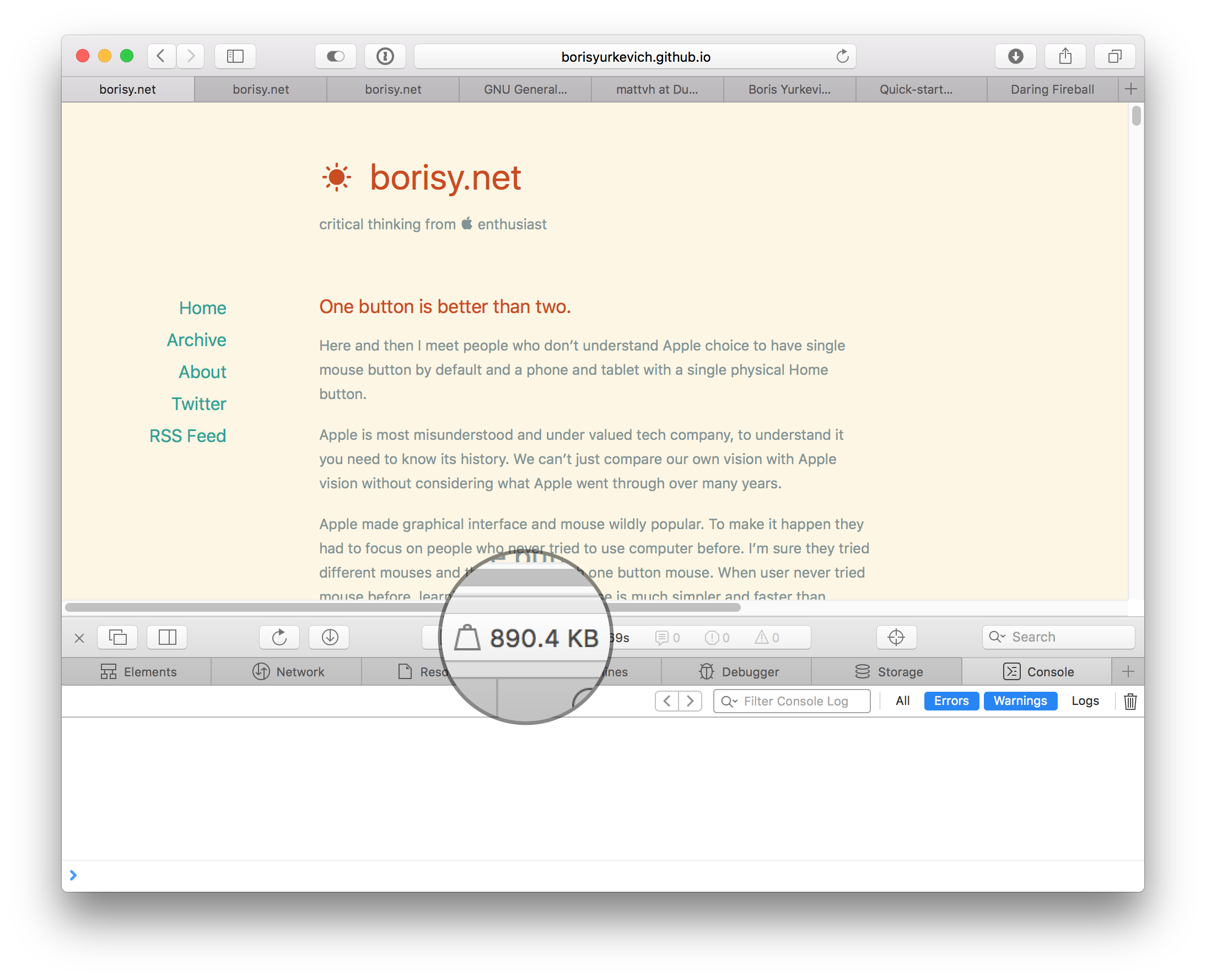 Screenshot that show Safari window with this blog on it and web inspector. It has light yellow background.