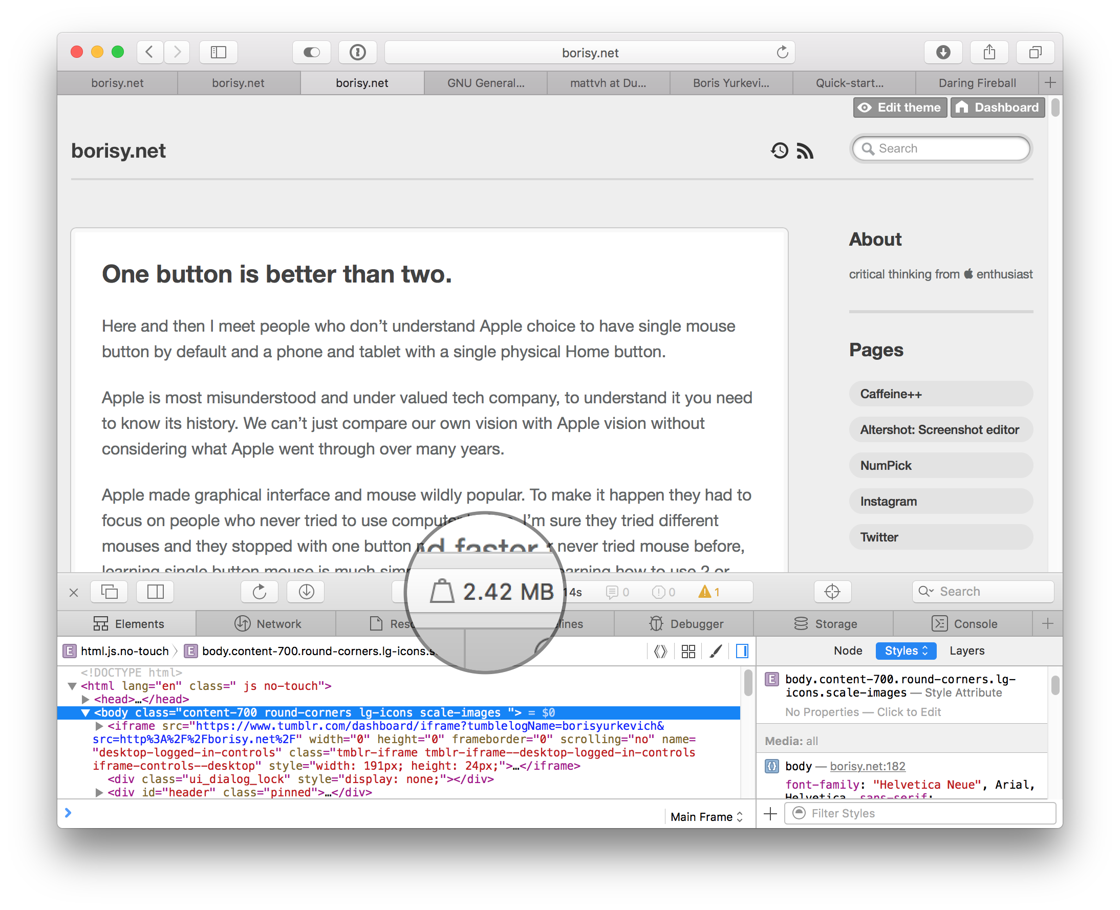 Safari window which shows old Tumblr blog with web inspector. It has borders, looks grey, has Tumblr customise buttons and looks very heavy in general.