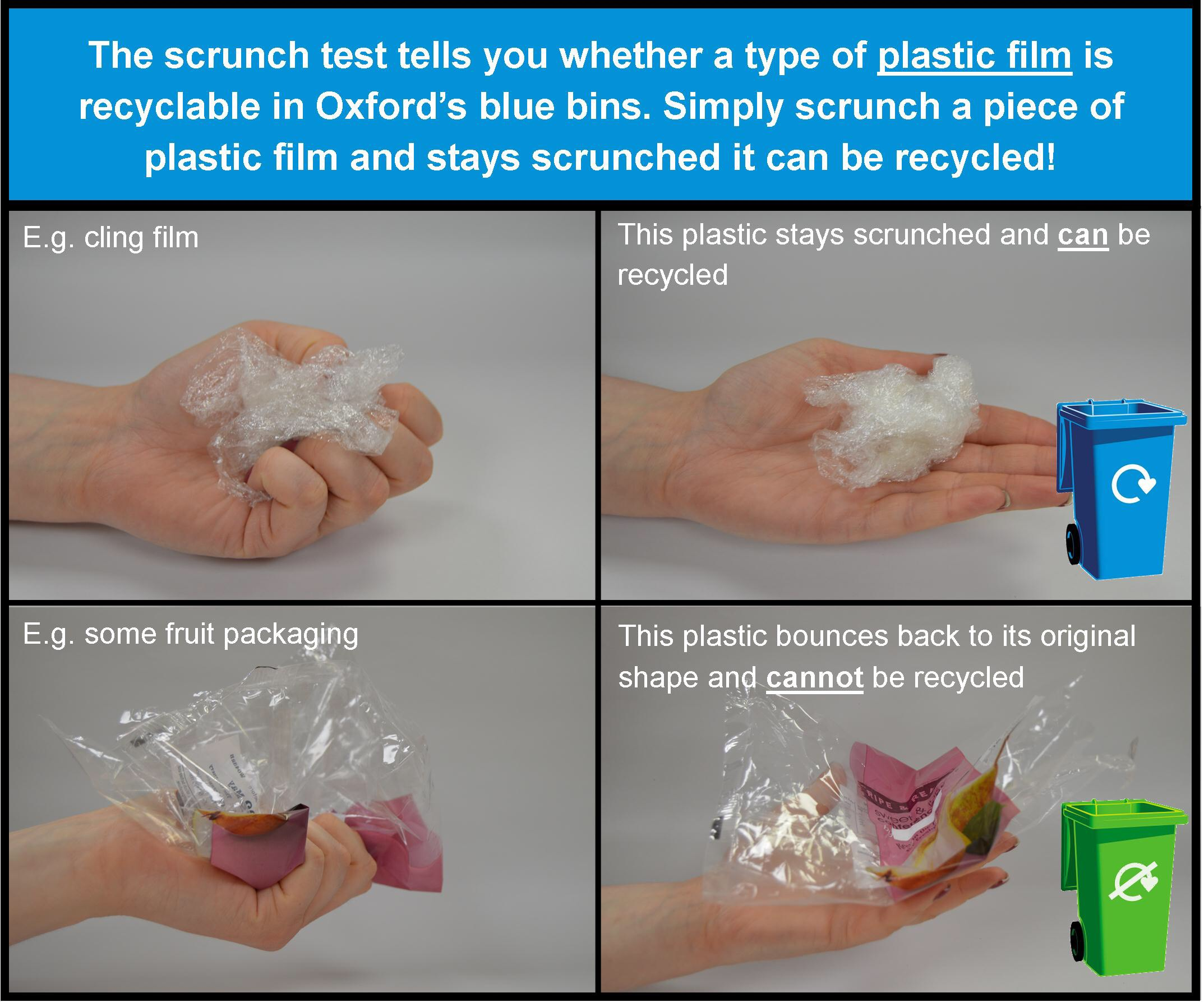 2 pictures with a hand squeezing plastic packages, one of them stays the same and other spreads out. First is recyclable.
