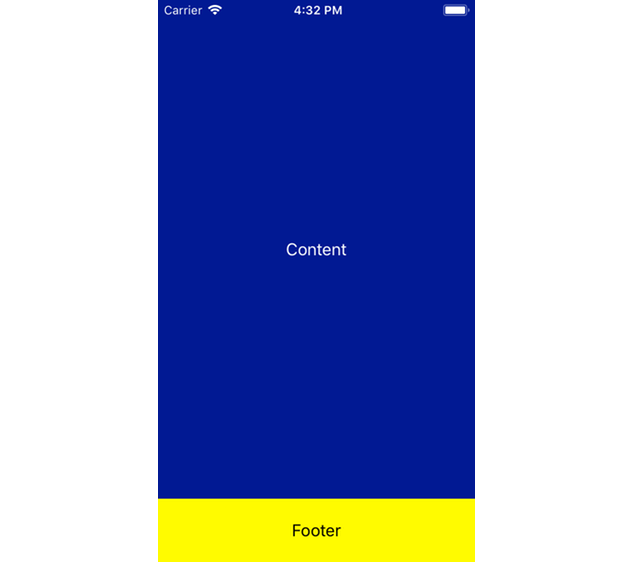 iOS simulator screenshot with blue content area and yellow footer