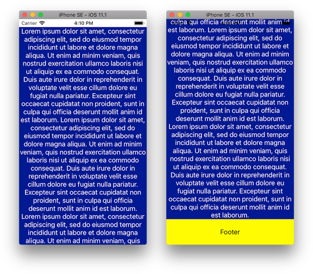 2 screens with text taking all the space.