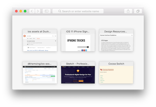 Safari window with 6 tabs visible as small page previews.