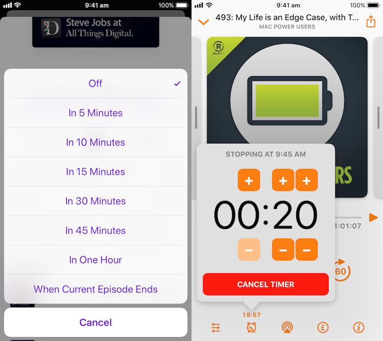 Podcasts app shows standard alert controller and Overcast shows popover.