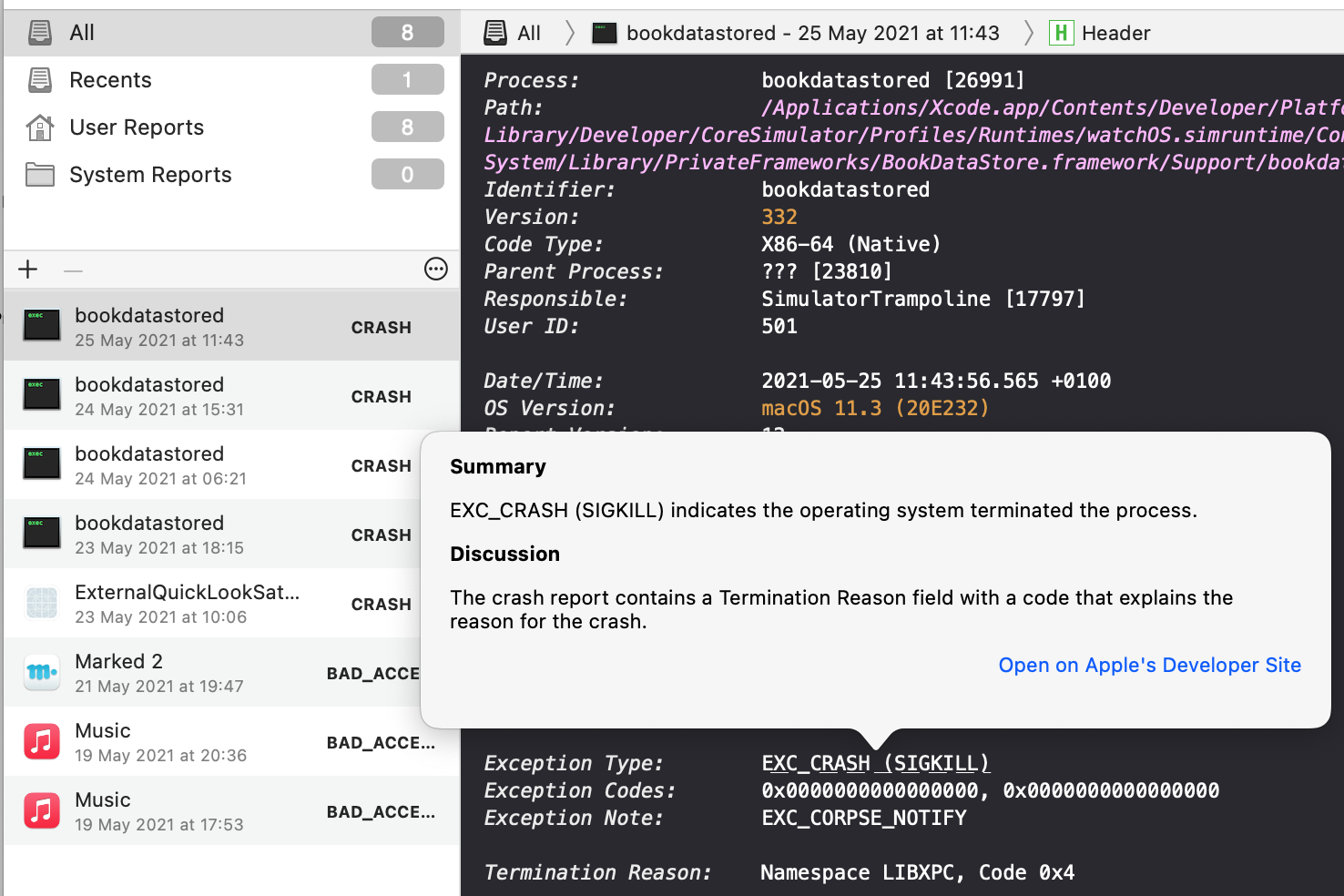 Screenshot with the Unexpectedly 1.0 which shows syntax highlighted log with a hyperlink which offers documentation