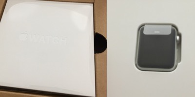 Grey box with another white box inside. Sealed 38mm Apple Watch body.