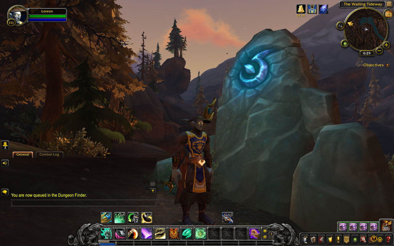 Night Elf waiting for a dungeon party near the Meeting stone.