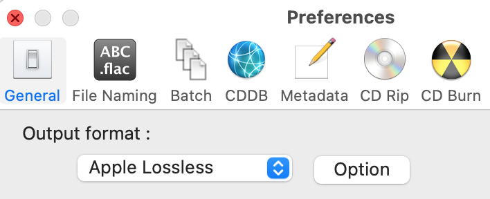 XLD preferences window with Apple Lossless option selected