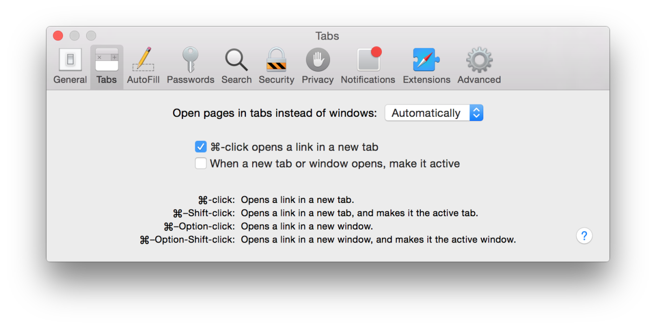 Safari preferences window.